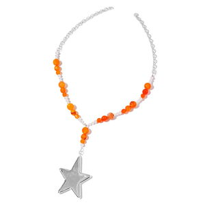 Agate, Simulated Pearl Stainless Steel Star Necklace (22 in) TGW 84.00 cts.