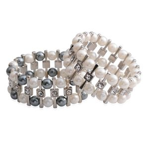 Simulated Pearl, Austrian Crystal Silvetone Set of 2 Bracelets (Stretchable)