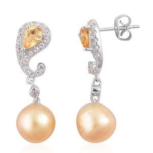 South Sea Golden Pearl, Brazilian Citrine, White Zircon Sterling Silver Earrings TGW 1.56 cts.