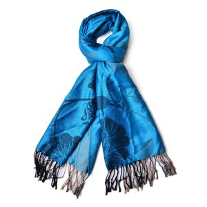 Blue and Beige Floral Paisley 100% Polyester Scarf with Fringes (70x28 in)