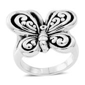 Black Oxidized Sterling Silver Butterfly Ring (Size 5.0) (5.5 g)