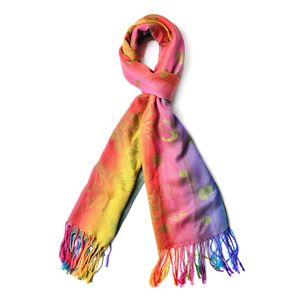 Rainbow Floral Polka Dot 100% Polyester Scarf with Fringes (70x28 in)