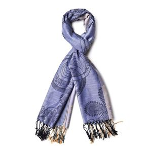 Slate Blue and Beige Floral Loop 100% Polyester Scarf with Fringes (70x28 in)