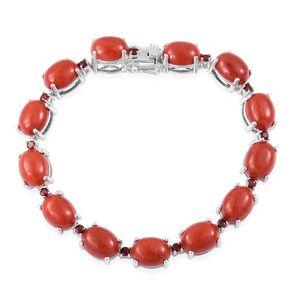 Burmese Red Jade, Mozambique Garnet Sterling Silver Bracelet (8.00 In) TGW 41.25 cts.