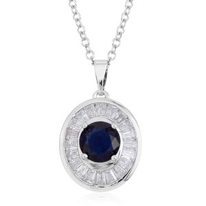 Lab Created Blue Sapphire, Simulated Diamond Silvertone Pendant With Chain TGW 2.54 cts.