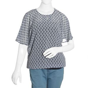 Navy Blue and White Palmette Pattern 100% Polyester Sheer Blouse (Size 20)