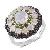 Ethiopian Welo Opal, Russian Diopside, Thai Black Spinel Platinum Over Sterling Silver Ring (Size 10.0) TGW 4.56 cts.