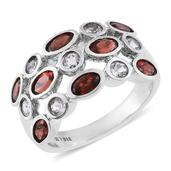 Mozambique Garnet, White Topaz Stainless Steel Ring (Size 5.0) TGW 3.54 cts.