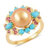 South Sea Golden Pearl (10.5-11 mm), Arizona Sleeping Beauty Turquoise, Orissa Rhodolite Garnet 14K YG Over Sterling Silver Bird's Pearl Ring (Size 10.0) TGW 1.12 cts.