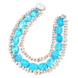 Blue Shell, Shell Silvertone Statement Necklace (18 in)