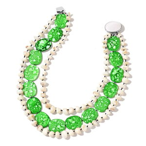 Green Shell, Shell Silvertone Statement Necklace (18 in)