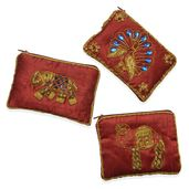 Set of 3 Royal Red Hand Embroidered Animal Coin Purses (5x3.5 in)