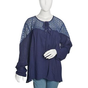 Navy Solid Lace Drawstring 100% Viscose Top with Long Sleeve (XXL)