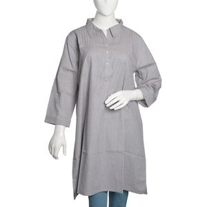 Stone Gray 100% Cotton Chambray Tunic with Button and Collar (Size 16)