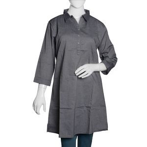 Pewter 100% Cotton Chambray Tunic with Button and Collar (Size 20)