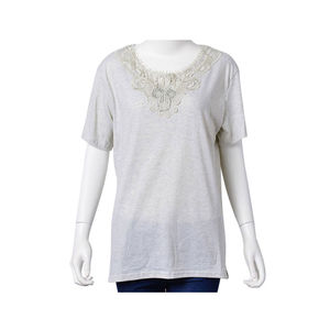 Gray 95% Polyester & 5% Spandex Studded Embroidered V-Neck Blouse (XL)