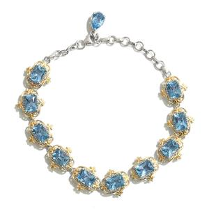 Marambaia Topaz 14K YG and Platinum Over Sterling Silver Bracelet (6.50-8.0in) TGW 12.33 cts.