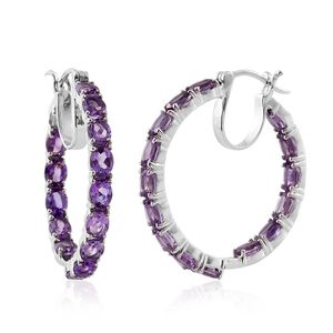 Rose De France Amethyst Platinum Over Sterling Silver Inside Out Hoop Earrings TGW 9.71 cts.