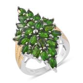 Russian Diopside 14K YG and Platinum Over Sterling Silver Elongated Ring (Size 7.0) TGW 7.35 cts.