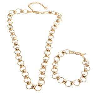 Goldtone Beaded Round Link Bracelet (7.50 In) and Necklace (18.00 In)