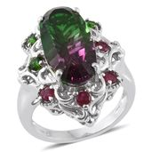Watermelon Quartz, Niassa Ruby, Russian Diopside Platinum Over Sterling Silver Ring (Size 7.0) TGW 11.17 cts.