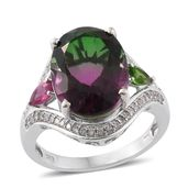 Watermelon Quartz, Multi Gemstone Platinum Over Sterling Silver Split Ring (Size 6.0) TGW 11.48 cts.