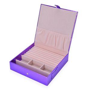 Purple Faux Leather Jewelry Box (8.9x8.9x2.1 in)