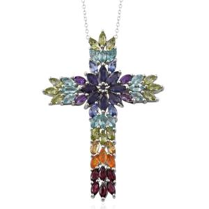 Multi Gemstone Platinum Over Sterling Silver Cross Pendant With Chain (20 in) TGW 8.10 cts.