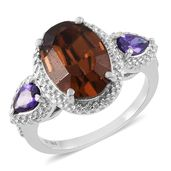 Simulated Purple Diamond Stainless Steel Ring (Size 7.0) Made with SWAROVSKI Brown Crystal TGW 5.86 cts.