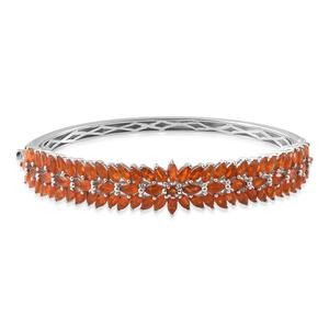 One Day TLV Jalisco Fire Opal Platinum Over Sterling Silver Bangle (7.25 in) TGW 7.74 cts.