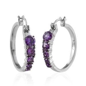 Simulated Purple Diamond Stainless Steel Hoop Earrings TGW 6.51 cts.
