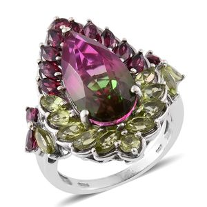 Web Exclusive Doorbuster Watermelon Quartz, Orissa Rhodolite Garnet, Hebei Peridot 14K YG and Platinum Over Sterling Silver Ring (Size 7.0) TGW 13.71 cts.