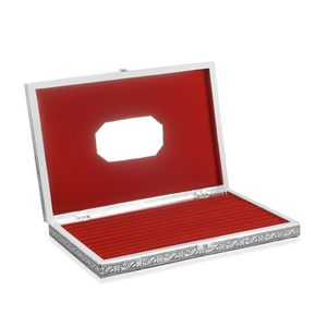 Handcrafted Aluminum Engraved Petra Jewelry Box with Velvet Interior (Approx 150 Rings) (14.5x2x9.5 in)