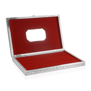 Handcrafted Aluminum Engraved Machu Picchu Jewelry Box with Velvet Interior (Approx 150 Rings) (14.5x2x9.5 in)