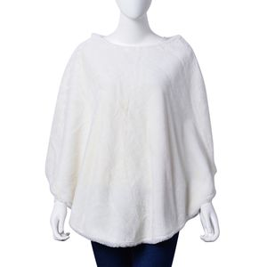 White Faux Fur 100% Polyester Poncho (One Size)
