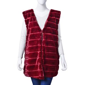 Burgundy Stripe Pattern 100% Polyester Faux Fur Vest (One Size)