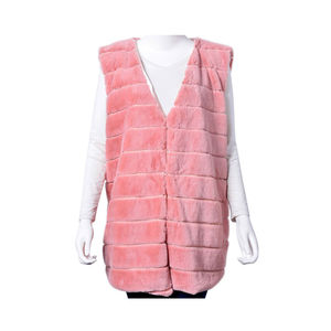 Pink Stripe Pattern 100% Polyester Faux Fur Vest (One Size)