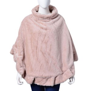 Beige 100% Polyester Turtleneck Faux Fur Rounded Poncho (One Size)