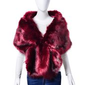 Burgundy 100% Polyester Faux Fur Stole Wrap with Clip Closure (60x13in)