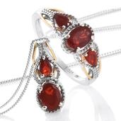 Crimson Fire Opal, Cherry Fire Opal 14K YG and Platinum Over Sterling Silver Ring (Size 7) and Pendant With Chain (20 in) TGW 1.42 cts.
