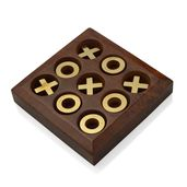 Handcrafted Wooden Gold Pieces Tic Tac Toe Game Board (5x5 in)