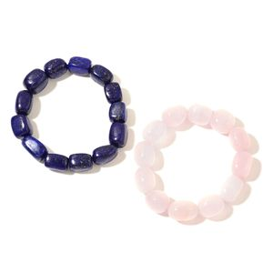 Set of 2 Galilea Rose Quartz, Lapis Lazuli Beads Bracelets (Stretchable) TGW 612.00 cts.