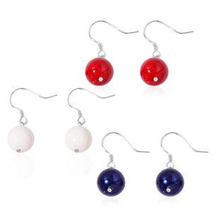 Multi Color Shell Sterling Silver Set of 3 Earrings