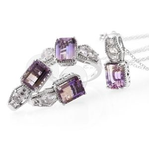 Anahi Ametrine, White Topaz Platinum Over Sterling Silver Earrings, Ring (Size 7) and Pendant With Chain (20 in) TGW 13.90 cts.