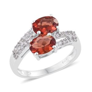 Red Andesine, Cambodian Zircon Platinum Over Sterling Silver Bypass Ring (Size 9.0) TGW 2.20 cts.