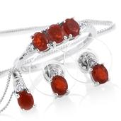Crimson Fire Opal, Cambodian Zircon Platinum Over Sterling Silver Earrings, Ring (Size 7) and Pendant With Chain (20 in) TGW 1.75 cts.