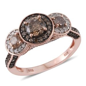 Natural Champagne Diamond, Diamond Black Rhodium & 14K RG Over Sterling Silver Ring (Size 6.0) TDiaWt 2.00 cts, TGW 2.00 cts.