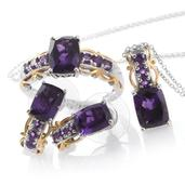 Lusaka Amethyst 14K YG and Platinum Over Sterling Silver Ring (Size 9), Earrings and Pendant With Chain (20 in) TGW 7.50 cts.