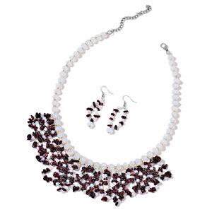 Indian Garnet, Opalite Silvertone & Stainless Steel Earrings and Bib Necklace (18 in) TGW 518.00 cts.