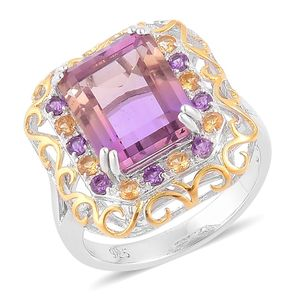 Anahi Ametrine, Brazilian Citrine, Amethyst 14K YG Over and Sterling Silver Ring (Size 6.0) TGW 7.53 cts.